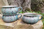 Load image into Gallery viewer, Soup Bowls in Turquoise Chevron Pattern with Lavender Blush