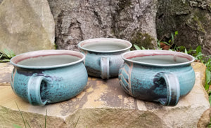 Soup Bowls in Turquoise Chevron Pattern with Lavender Blush