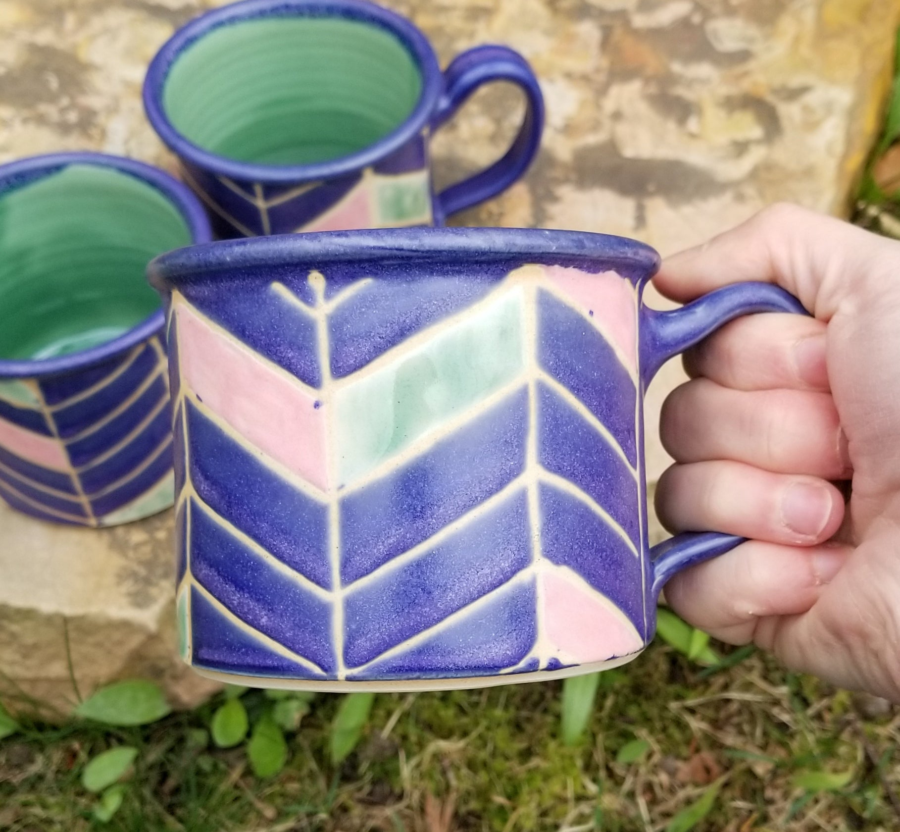 'Camp' Mugs in Amethyst Chevron Pattern