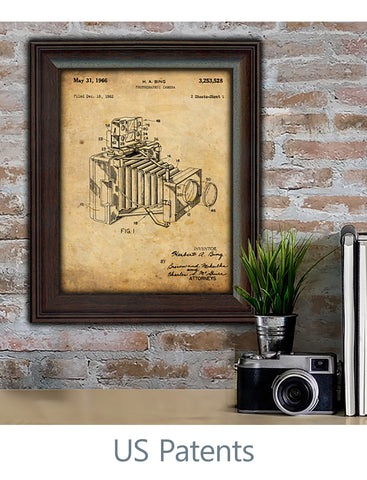 US Patent Art Decor Prints