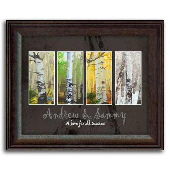 Personalized art using four seasonal photos of aspen trees and your name below - Personal-Prints