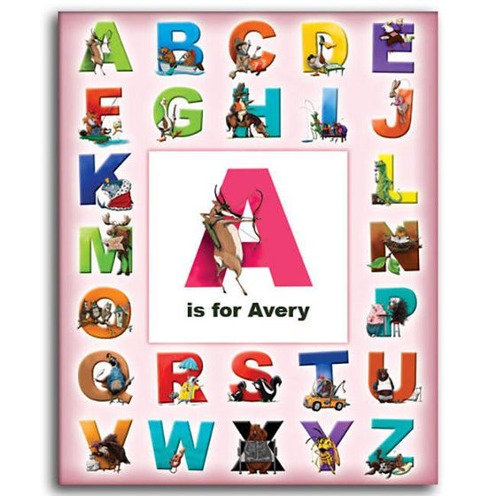 Personalized girls wall decor for kids room with letters and animals of the alphabet - Personal-Prints
