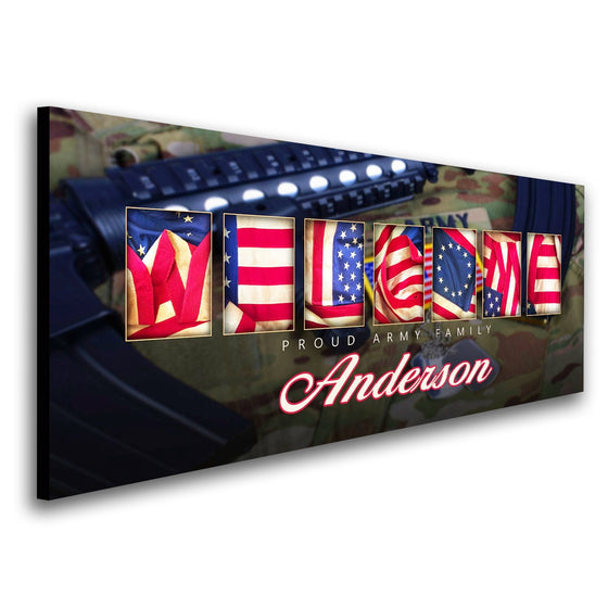 Personalized army art using the American flag to spell the word Welcome - Personal-Prints
