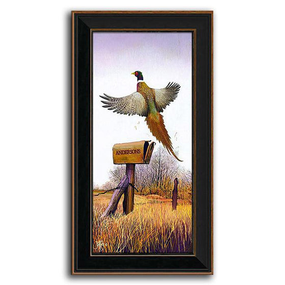 Nature wall decor with pheasant hovering over a mail box - Personal-Prints
