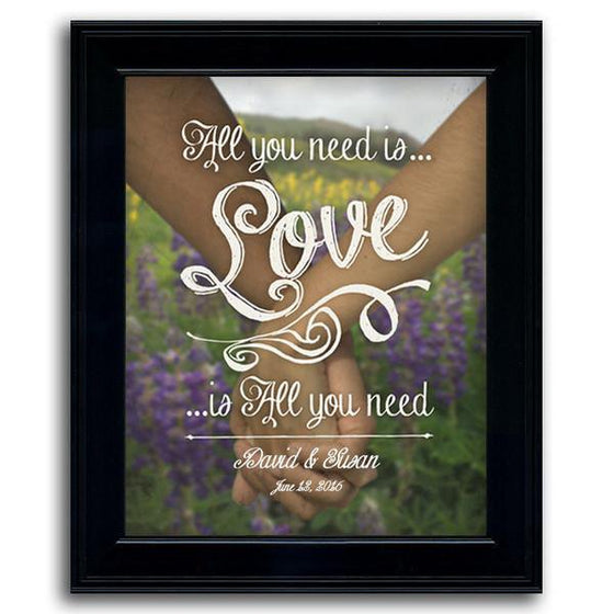 Personalized romantic print of two people holding hands - Personal-Prints