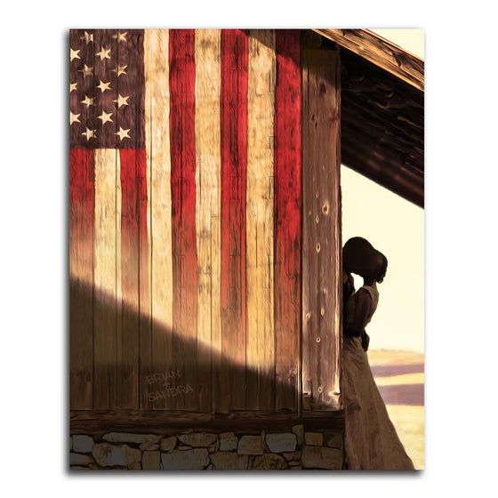 Romantic wall art of a couple embracing next to an American wooden flag