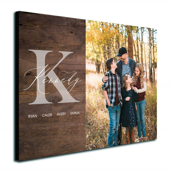 Rustic monogram personalized photo to art product from Personal-Prints