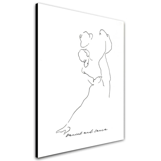 The Dance Contemporary Line Drawing Art & Romantic Personalized Gift for a Couple