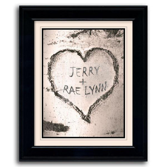Nature wall decor of two names carved inside a heart in an aspen tree - Personal-Prints