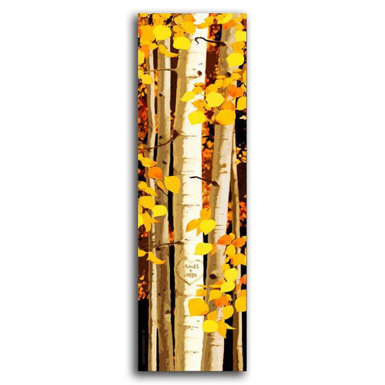 Aspen tree art using oranges and reds in a tall rectangle shape - Personal-Prints