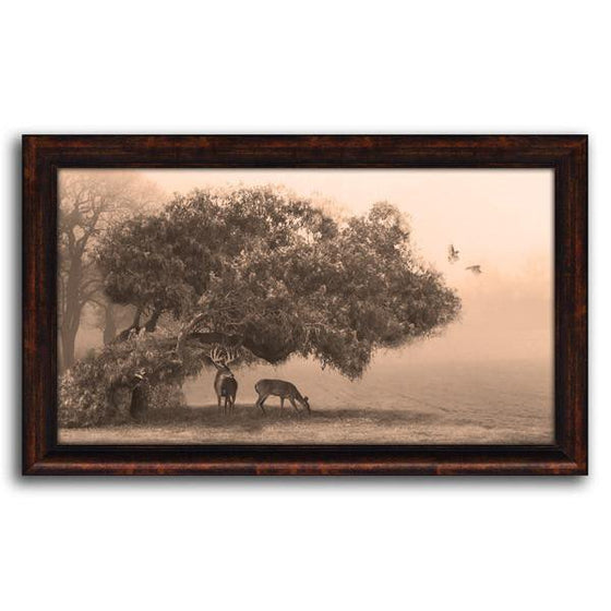 Sepia-toned nature wall decor of a tree in a field with two deer grazing below - Personal-Prints