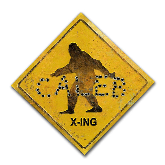 Personalized Bigfoot Yeti crossing x-ing sign with your name written in bullet holes