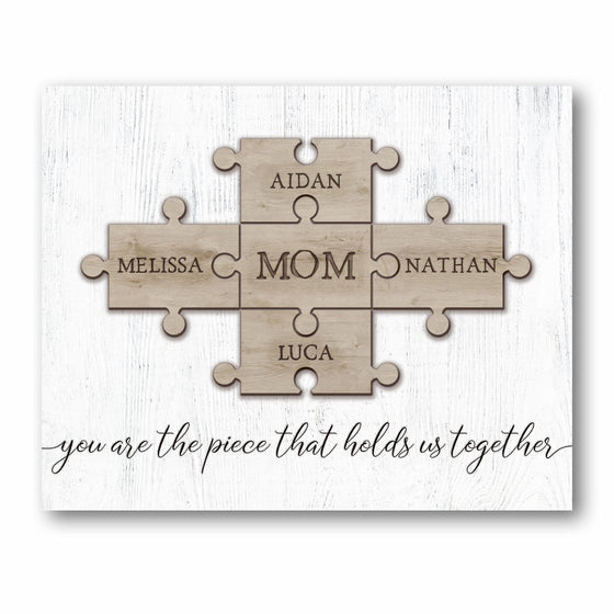 Mom and Children Puzzle Pieces Personalized Sign