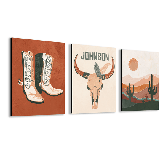Set of three Southwestern Desert Boho theme art prints featuring your personalization on the center print.