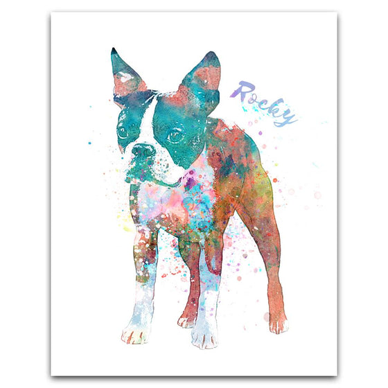 Personalized contemporary watercolor boston terrier dog art print mounted on wood block- Personal-Prints