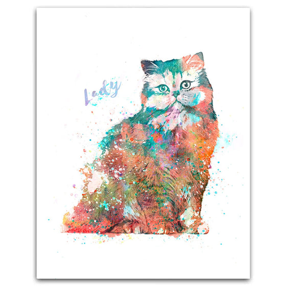 Persian Cat Watercolor Pet Portrait Personalized Cat Gift from Personal-Prints
