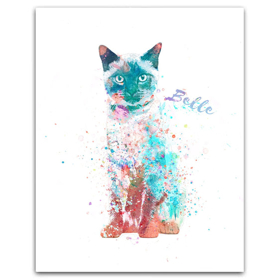 Siamese Cat Watercolor Pet Portrait Personalized Cat Gift from Personal-Prints