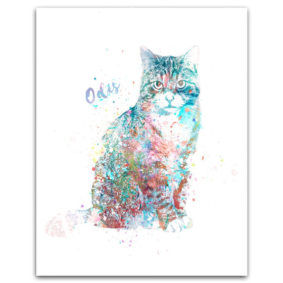 Tabby Cat Watercolor Pet Portrait Personalized Cat Gift from Personal-Prints