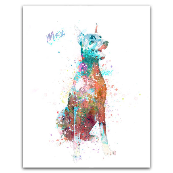 Doberman Watercolor Print