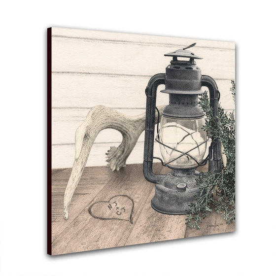 Rustic Cabin Wall Decor with a moose antler and old lantern - Personalized in the heart for you