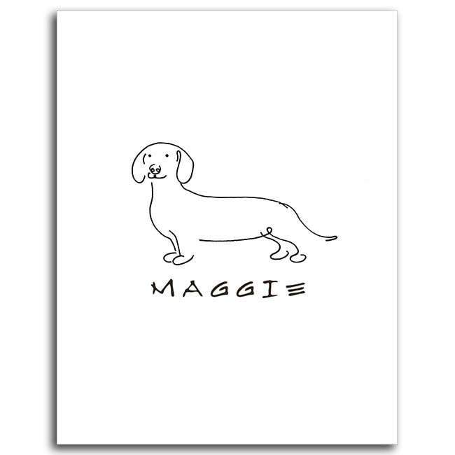 Line Drawing Dachshund : Dog line drawing personalized art pencil pet portraits