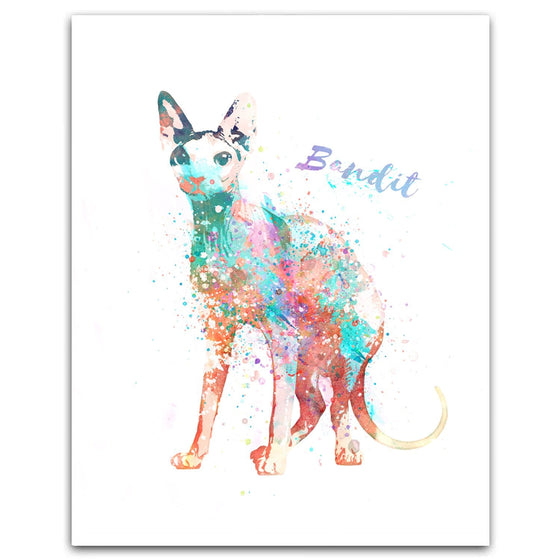 Watercolor pet portrait of a Sphynx Cat - Personalized Cat Gifts from Personal-Prints