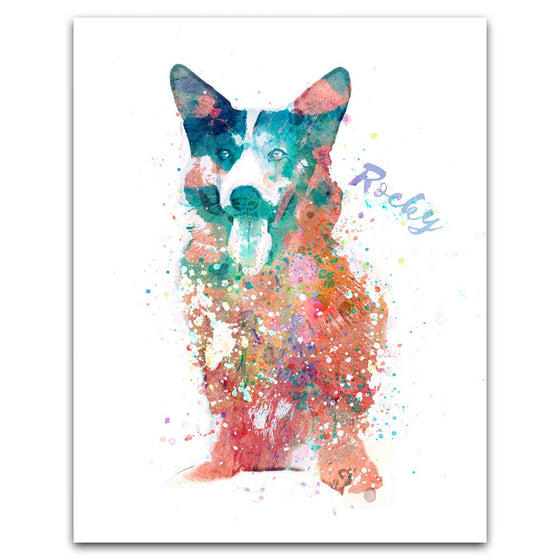Corgi Watercolor Pet Portrait Personalized Art