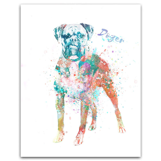 Boxer dog watercolor pet portrait from Personal-Prints
