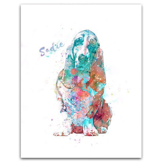 Basset Hound watercolor pet portrait - personalized gift from Personal Prints