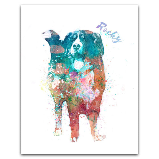 Personalized contemporary watercolor bernese mountain dog art print mounted on wood block- Personal-Prints