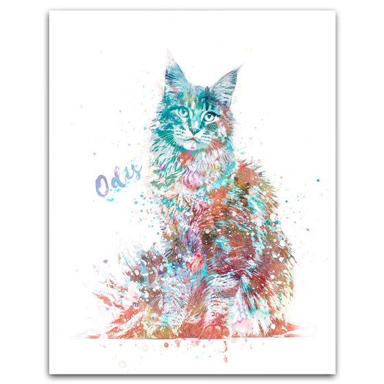 Watercolor Cat Portrait Main Coon Personalized Gift from Personal-Prints