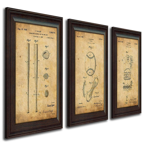 Framed patent art of the original patents for baseball, glove, and bat - Personal-Prints