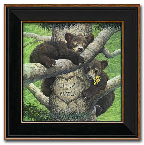 Personalized animal art print of two bear cubs sleeping in a tree - Personal-Prints
