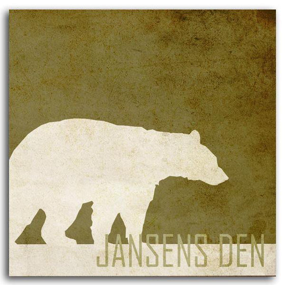 Contemporary personalized animal art print of a silhouetted bear and your name at the bottom - Personal-Prints