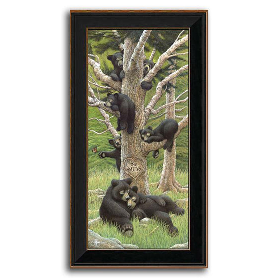 Personalized animal art print of a bear family sleeping in a tree - Personal-Prints