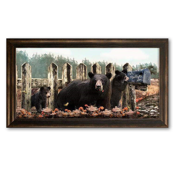 Black Bear Family framed canvas art from Personal Prints