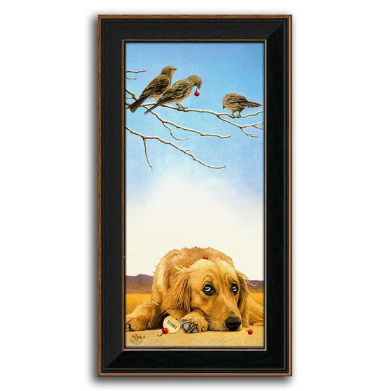 Personalized framed art painting of a golden dog and three birds in a tree - Personal-Prints