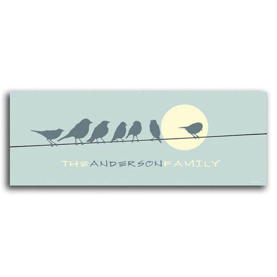 Bird art print of silhouetted birds on a wire and a full moon with your name on the bottom - Personal-Prints