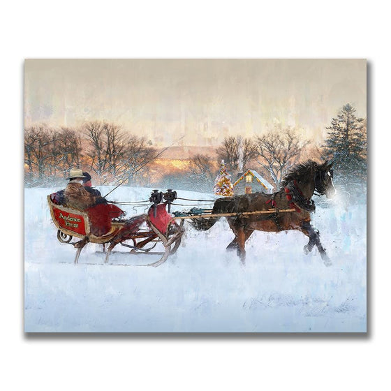 christmas Art of a horse pulling a sleigh Mounted to wood wood block