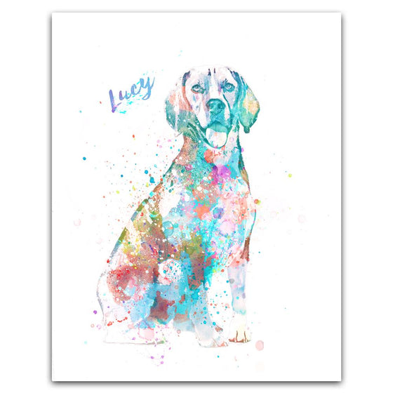 Contemporary watercolor beagle dog art print mounted on wood block- Personal-Prints