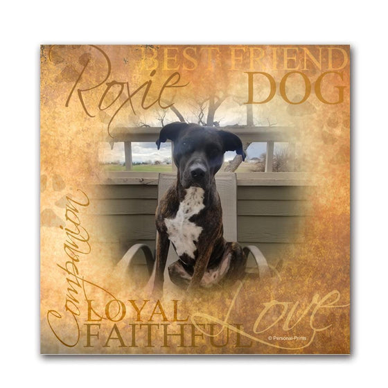 Personalized dog art gift using your photo and the name of the pet- Mounted to a wood block