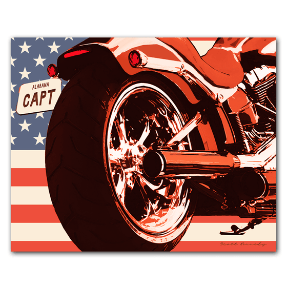Personalized Motorcycle GIft on American Flag Background from Personal-Prints