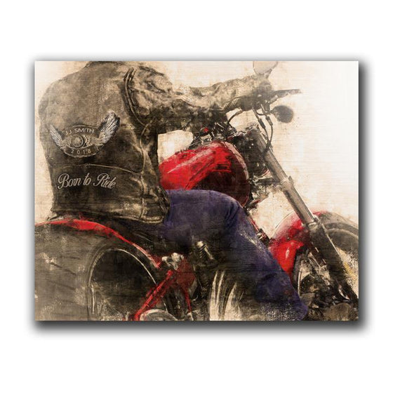 Motorcycle art personalized gift - wood block mount option