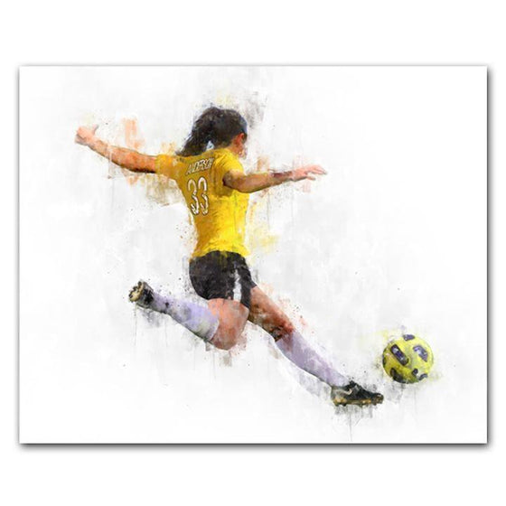 Women's Soccer Player Art Print- Block Mount