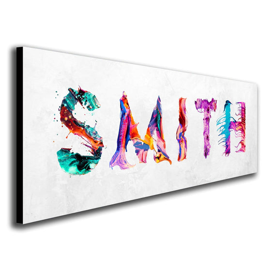 Personalized Colorful Paint Name Art Print Using Letters Made From Splattered Paint- Angled View