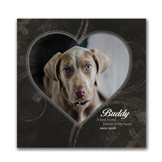 Personalized dog art memorial gift using your photo and the name of the pet- Mounted to a wood block