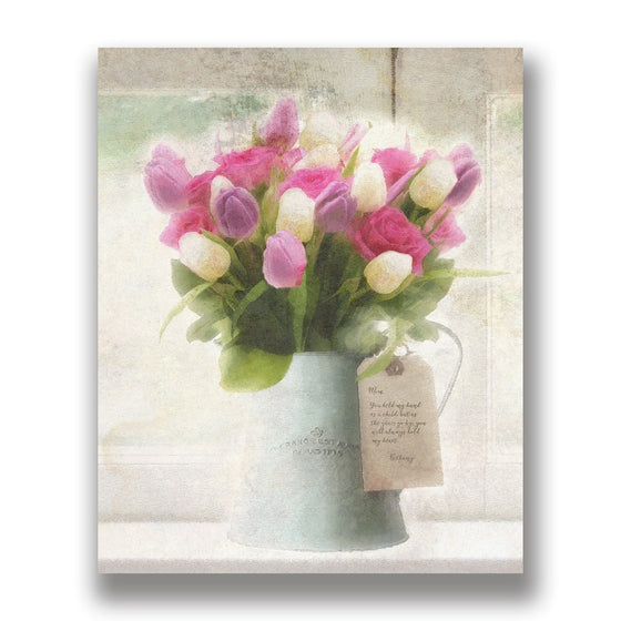 Spring Tulips Floral Art - Personalized gift with your text in the art