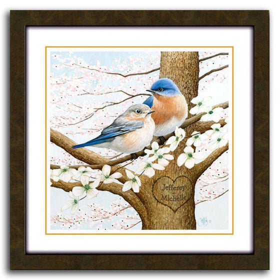 Personalized bird art print of two Chickadees sitting a blooming tree - Personal-Prints