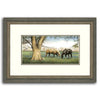 Original watercolor art print of two horses in a field next to a tree - Personal-Prints