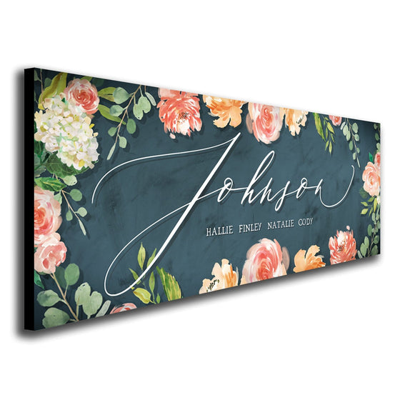 Personalized watercolor style botanical/ flower/ floral art print mounted to wood block - angled view